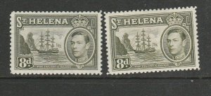 St Helena 1938/44 GV1 Ship Defs, 8d both listed shades MM SG 136a & 136b