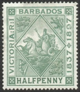 BARBADOS-1897-98 Jubilee ½d Dull Green Sg 117 LIGHTLY MOUNTED MINT V46259