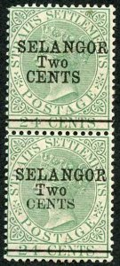 MALAYA SELANGOR SG47/8 1891 2c on 24c green type 38 and 39 se-tenant Very RARE