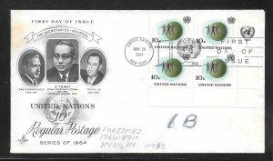 United Nations #127 FDC Inscription Block of 4  Artcraft Cachet (my5610)