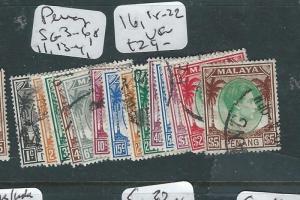 MALAYA PENANG  (PP3007B) KGVI SG3-6, 8,11,13-4, 16, 18-22  VFU