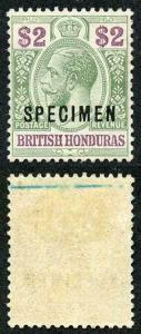 British Honduras SG109s Two Dollar Opt SPECIMEN M/M (offset on reverse)