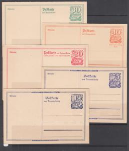 Germany Mi P143/P149 mint. 1921 Double Reply Postal Cards, run of 5 values