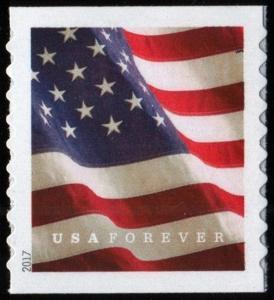 2017 49c U.S. Flag Coil Forever Single, SA Scott 5159 Mint F/VF NH