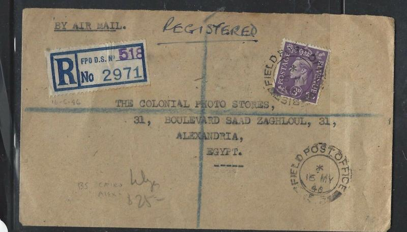 GREAT BRITAIN  (PP2101B)  1946  KGVI 3D OAS REG FPO DS 518  LIBYA TO EGYPT