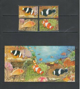 THAILAND: Sc. 2237-40,a / *** Beautiful FISHES ***/ Set of 4 & Sov Sheet / MNH