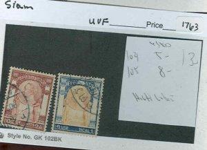 s1763 stamp Siam Scott  104 105 used  SCV 13.00