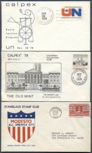 6 STAMP SHOW Covers: Cachets, Special Cancels; CALPEX Stanislaus StampShow ++
