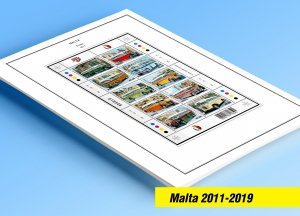 COLOR PRINTED MALTA 2011-2019 STAMP ALBUM PAGES (78 illustrated pages)