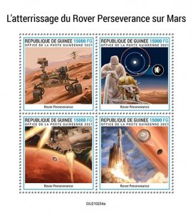GUINEA - 2021 - Rover Perseverence on Mars - Perf 4v Sheet - Mint Never Hinged