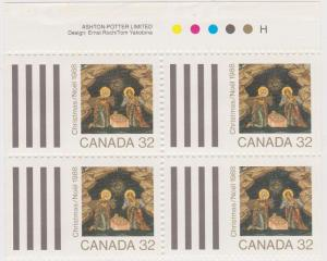 Canada #1225a 1985 Christmas Imprint Block of Four ex Booklet