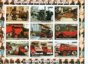 Zaire 2003 firetrucks MNH ..
