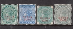 India Nabha #7 - #10 Mint Fine - Very Fine Original Gum Hinged Set