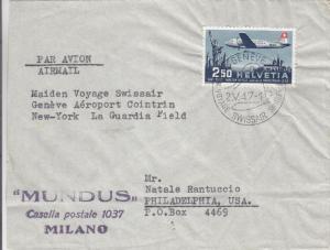 1947, 1st Flt., Switzerland to New York, See Remark (4858)