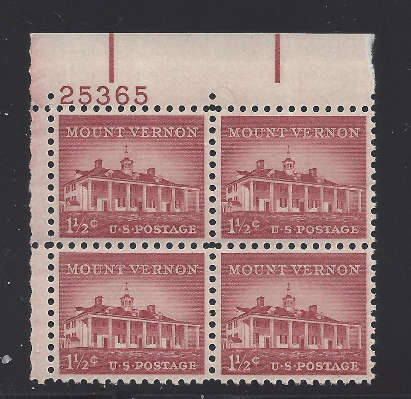 1032 1 1/2 c LIBERTY SERIES -MT. VERNON - PB #25365 UL MNH CV*: $2.00 -  LOT 216