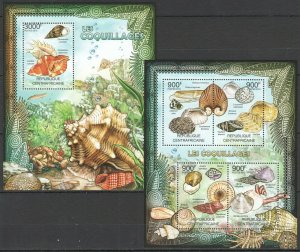 CA836 2012 CENTRAL AFRICA MARINE LIFE SEASHELLS LES COQUILLAGES BL+KB MNH
