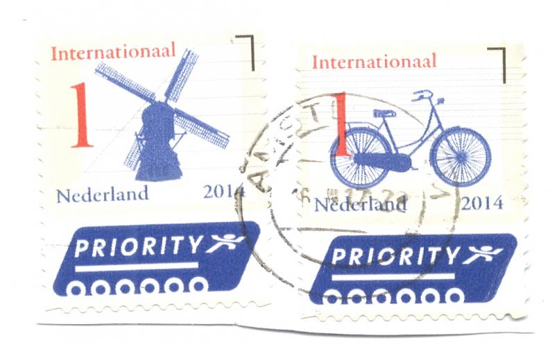 Netherlands - (2) 2014 Priority Mail Stamps on Piece