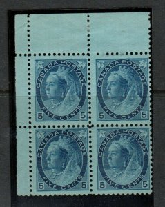 Canada #79 Mint Fine Never Hinged Upper Left Margin Block