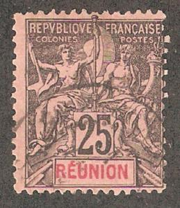 Reunion 1892,25c Navigation & Commerce,Sc 44,Used (R-11)