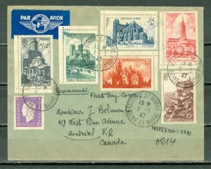 FRANCE 1947 CATHEDRALS #B213-17 + OTHERS on REGISTERED AIR COVER TO CANADA