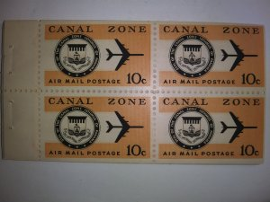 CANAL ZONE TEN CENT AIR MAIL PANE GEM MINT NEVER HINGED STUNNING GEMS!!