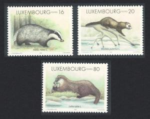 Luxembourg Badger Polecat Otter Wild Animals 3v SG#1428-1430