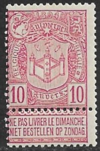 BELGIUM 1894 10c ANTWERP EXHIBITION Issue Sc 77 MLH