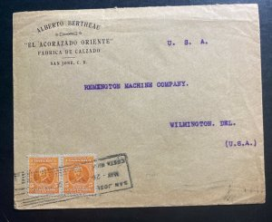 1916 San Jose Costa Rica Shoe Factory Cover To Wilmington USA