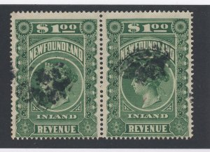2x Newfoundland Revenue Stamps Pair of NFR6-$1.00 Guide Value = $70-$90.00
