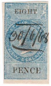 (I.B) New Zealand Revenue : Stamp Duty 8d (reversed watermark)