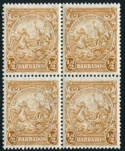 BARBADOS-1942 ½d Yellow-Bistre Perf 13½ x 13 Block of 4, one with recut line