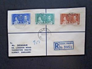 Bahamas 1937 Coronation Series Registered Cover - Z4132