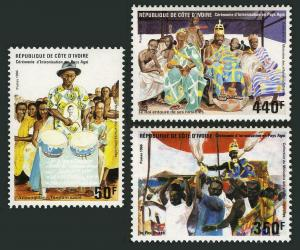 Ivory Coast 799-801,MNH.Mi 925-927. Enthronement of a Chief,Agni District,1986.