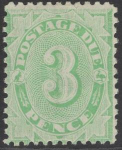 AUSTRALIA SGD48 1908 3d GREEN POSTAGE DUE MTD MINT