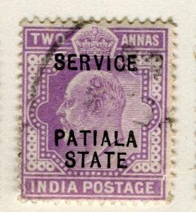 INDIA PATIALA;  1903-10 early Ed VII SERVICE Optd. issue fine used 2a. value