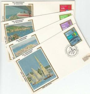 Guernsey, Scott cat. 246-249. Scouting Year. 4 SILK Cachet First Day Covers.