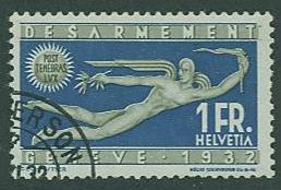Switzerland SC# 215 Peace, Int'l Disarmament Conf 1932, used