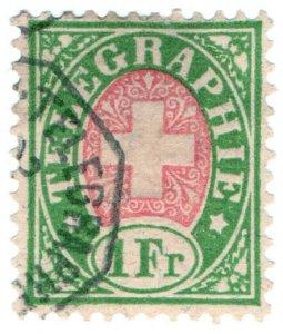 (I.B) Switzerland Telegraphs : 1Fr Green & Pink (1881)