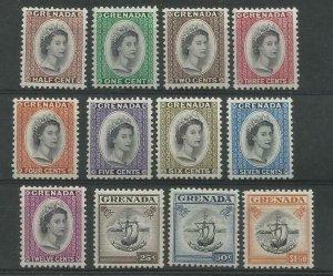 GRENADA 1953 part set of 12 of 13 Values, Sg 192-203 (NO 204) M/Mint { Box 5-2}