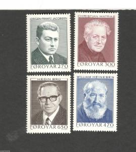 1988 Faroe Islands SC #175-178 WRITERS  MNH stamps