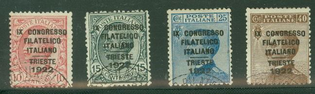 ITALY #142A-D Complete set IPC Trieste Ovpt, used, signed Scott $1,375.00