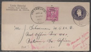 U.S. Scott #986 Poe Cover -Pittsburgh PA to Pretoria, South Africa- Jan 14, 1950