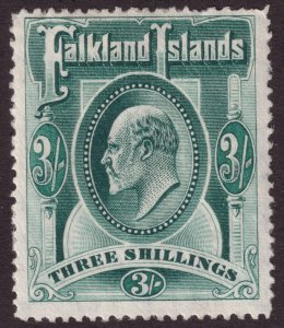 1904 - 1907 Falkland Island KEVII portrait 3/ issue MLMH Sc# 28 CV $180.00