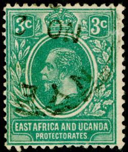 EAST AFRICA and UGANDA SG66a, 3c blue-green, FINE USED. Cat £18. WMK SCRIPT.