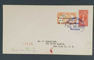 1949 Costa Rica to New York City Pan American 15 Cent Overprint Air Mail Cover