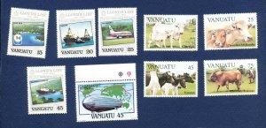 VANUATU - Scott 368-375 - FVF MNH - Lloyds, Zeppelin, Cows - 1984