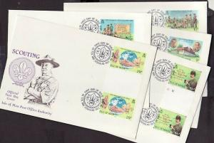 Isle of Man, Scott cat. 207-211. Scouts. Gutter Pairs. 5 First day covers. ^