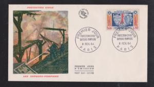 1964 Protection Civile Sapeurs Pompiers - Color Cachet Unaddressed FDC