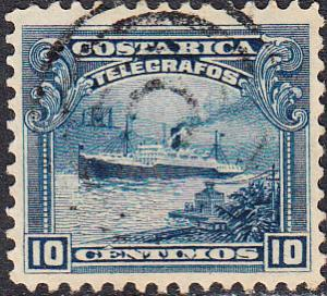Costa Rica Telegraph - Hiscock #14 Used