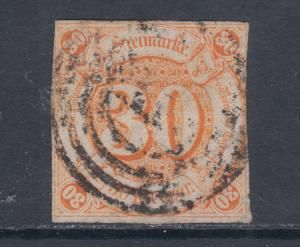 Thurn & Taxis Sc 52 used 1859 30kr imperf Numeral, 4 ring target cancel